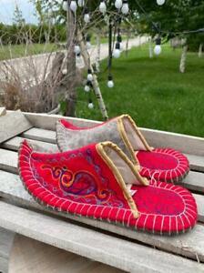 Kazakhstan womens slippers handmade from eco friendly wool felted size 38-39 eur