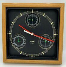 Vtg LL Bean Weather Station Clock Barometer Hygrometer Vintage Retro Analog