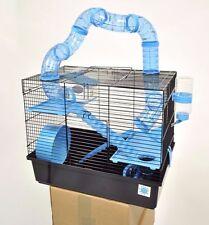 Bernie Grande Azul Hamster Jaula pequeño animal jaula con tubos de juego de la diversión 3 Pisos