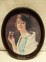 Vintage 1981 Woman Holding Glass Drink Coca Cola Soda Metal 15x12 Serving Tray