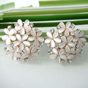 18K Rose GP Crystal Rhinestone Opal Flower Leaves  Clip-stand Earrings E2511