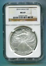 2010 AMERICAN SILVER EAGLE NGC MS 69 BROWN LABEL PREMIUM QUALITY MS69 PQ