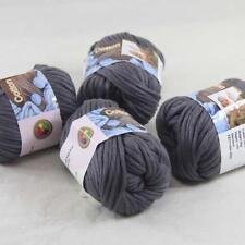 Sale 4BallsX50g Thick Worsted 100% Cotton Hand Knitting Yarn Charcoal 422-32