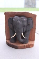 Elefant Skulptur im Baumstumpf H 22 cm Teakholz  Unikat Treibholz  Nr. E105