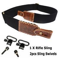 Leather Rifle Sling Shotgun Gun Strap Stiched Shooting Hunting Shoulder Belts