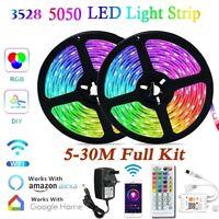 5-30M LED Strip Lights 5050 3528 RGB WIFI Remote Control Bar TV Backlight Decora
