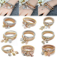 3PCS/set Women Fashion Bracelet Rhinestone Bangle Charm Pendant Jewelry Gift Hot