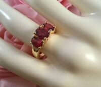 Vintage Jewellery Gold Ring with Rubies White Sapphires Antique Deco Jewelry 7