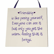 Friendship is like peeing - Handmade wooden Plaque - Funny Gift or Keepsake