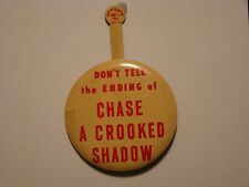 "TIN PIN  - RARE Advertising Item-Promoting Movie ""CHASE A CROOKED SHADOW"" 1958"