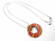 Love Heart Skateboard Wood Necklace Charm Shaped Wooden Hearts Womens Gifts