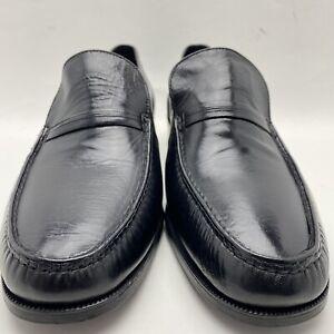 VTG NOS Florsheim Imperial Mens Apron Toe Loafers Black Leather 92128 US 13 EEE