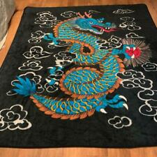 """Dragon Blanket 88"""" x 80"""" Thick Plush Multi-Color Two Sided Blanket EUC"""