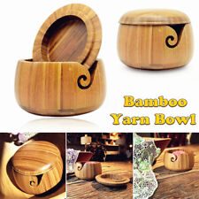 Wooden Bamboo Yarn Bowl Holder With Lid Knitting Tool Crochet Wool Storage UK ~