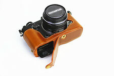 Brown leather half Bottom Case Cover bag grip For Olympus Pen-F camera ( Pen F)
