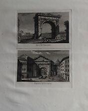 ITALIA, ROMA, ARCO DI GALIENO,  GRABADO ORIGINAL DOMENICO PRONTI, 1795.