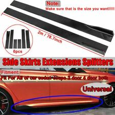 Universal Black Side Skirt Body Splitters Kit Rocker Panel Extension 2M/78.7''