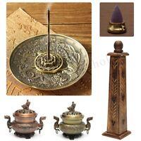 Vintage Copper Wood Alloy Incense Stick Burner Holder Dragon Pattern Censer Gift