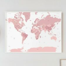 Large Pink A1 Decorative Map of the World Poster Print Girls Travel Wall Art