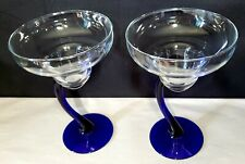 "Margarita glasses Set Of 2 W/ Cobalt Mexican Blue Curved Stems  7 1/4"" Tall"
