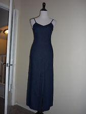 United Colors of Benetton Maxi Dress, Dark Blue Denim, Sleeveless, Cotton Sz XS