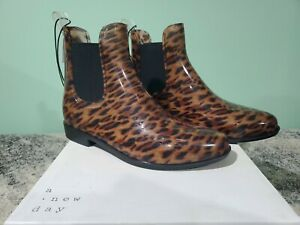 A New Day Womens Rain Boot Size 9 Chelsea Brown Leopard Ankle Shoe Fashion NIB
