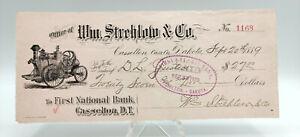1889 William Strehlow & Co CASSELTON Dakota Territory First National Bank Check!