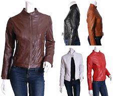Zip Waist Length Leather Outdoor Coats & Jackets for Women
