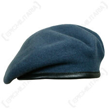 100% Wool BRITISH BERET- All Sizes RAF BLUE Royal Air Force Quality Army Cap Hat