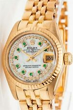 $20,000 Rolex Ladies President Emerald Diamond 18k Yellow Gold Watch BOX & WTY
