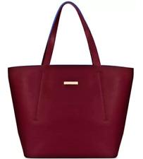 Oscar De La Renta Large Burgundy Blue Inside Fashion Shoulder Tote Bag Authentic