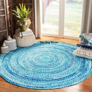 Rug 100% Natural Cotton Reversible Hand Braided Bohemian Round Carpet Area Rug