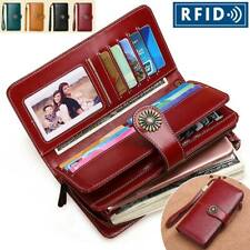 RFID Mujeres Cuero Genuino Largo huecos Billetera Dinero Porta Tarjetas Cartera