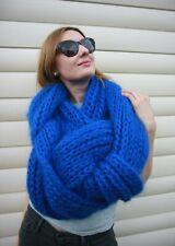 Premium Mohair MEGA LONG SCARF 3.5 m. Hand knit Blue  Men Women Jane Rodas