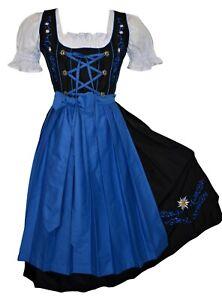 German Dirndl Dress Long Blue Oktoberfest Waitress Party Women XS S M L XL 2XL