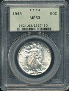 1945 Walking Liberty Half Dollar PCGS MS 63 *Highly Lustrous, Green Label!*
