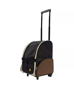FrontPet Airline Approved Rolling Dog Travel Carrier & Backpack, Brown (Used)