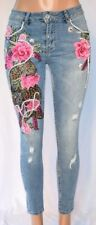 FOLL TIGER EMBROIDERED/BEADED APPLIQUE M RISE DISTRESS PANTS SIZE 44 1803KO