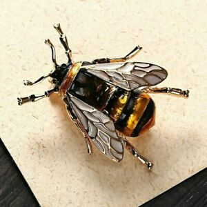 Beautiful Vintage Style HONEY BEE Bumble Insect ENAMEL Brooch Pin Jewellery UK