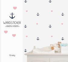 """Wandsticker """"Anker & Herzen"""" 75-teilig"""
