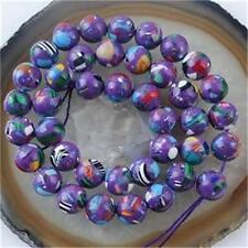 8mm Purple Multicolor Turquoise Gem Round Loose Bead 15''AAA