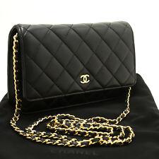 P47 Chanel Cartera Negra en Collar Woc Bolsa de Hombro Cruzado Piel de Cordero