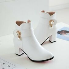 Autumn Ladies Ankle Boots Block Heels Beads Booties Casual Shoes Size Grace