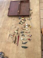 Job Lot -Vintage Lures ,Spinners (MEPPS ,DEPOSE ,PFLUEGER) Handmade Box & Lures