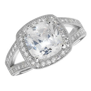 Sterling Silver Halo Ring Engagement Gemstone 925 Hallmarked Size J - T