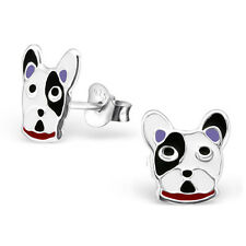 925 Sterling Silver Colourful Dog Stud Earrings