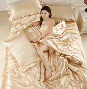 4pcs Ice Silk Bed Sets Bed Sheet Pillowcases Coverlets Bedspread Comfort Fashion