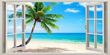 """Tropical Beach Caribbean Holiday 16""""x20"""" Canvas Picture 3D Window Effect Art"""