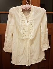 Tory Burch Blouse top silk cream white size 4 aud 8 beaded sequin embellished