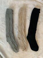 Pack Of 3 Womens Knee High Socks One Size Grey, Black, Beige